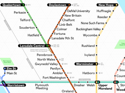 Suburban Philadelphia Rail Map (WIP) isometric maps rail vector philadelphia septa map