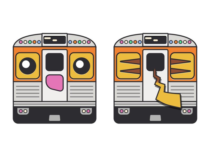 Broad Street Line, Pikachu Edition trainer pikachu pokemon cute cubie transit flat septa illustration philadelphia train