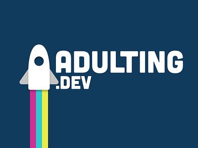 Adulting.dev Logo conference space rocket flat logo
