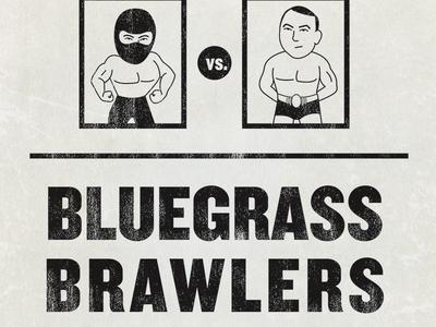 Bluegrass Brawlers cover wrestling cover book bluegrass kentucky louisville old school grunge knockout illustration wwf wwe