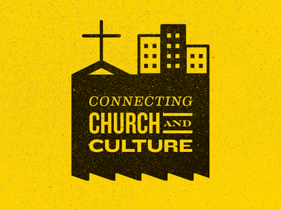 Connecting Church and Culture eames engravers knockout two-color yellow city culture church ethics christian religious liberty erlc