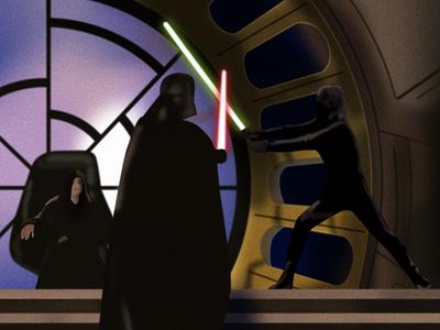 Return of the Jedi death star lightsaber emperor luke skywalker darth vader star wars