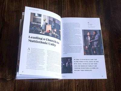 SBTS viewbook story spread sentinel editorial seminary campus spread louisville student brochure tolyer mirador texture clean