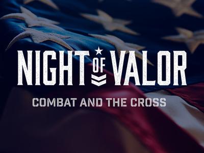 Night of Valor logo seminary event military flag reverse flag christian speaking chaplain stars stripes one-color minimal