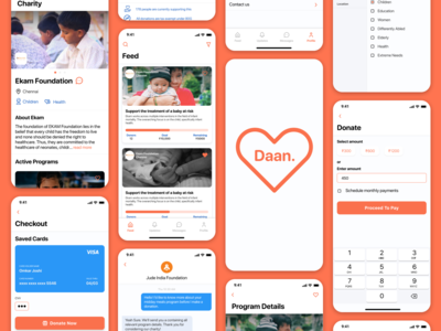 Daan - The Charity Application Screens