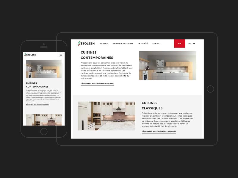 Stolzen minimalistic design responsive design clean design furniture store landing page product page rwd ui web design