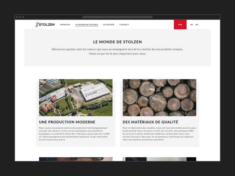 Stolzen web design ui rwd product page landing page furniture store clean design responsive design minimalistic design