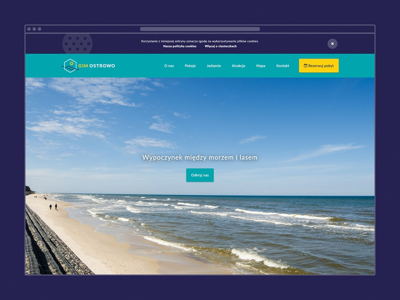 GIM Ostrowo playful cookies booking hotel material design minimalistic design responsive design clean design landing page rwd ui web design