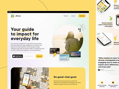 Alms – App Website illustration responsive app store minimalist landing page lightweight clean charity startup web design webdesign landing website