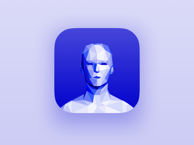FitAssist – Icon avatar model mesh generated polygon illustration identity health healthtech person ar icon app abstract clean blue 2019 bold minimalist