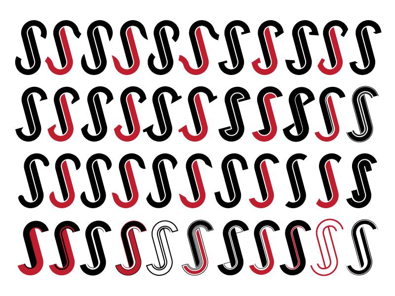 Logo Variations  rebrand illustration red black reverse logo initials s j hook