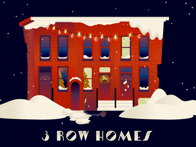 3RD Day of Bmore - 3 Row Homes bmore baltimore holiday rowhomes row house illustration 12 days of christmas 12 days christmas
