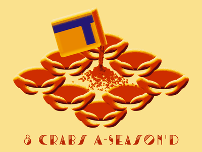 8th Day of Bmore - 8 Crabs A-Season'D 12 days of christmas 12days bmore baltimore illustration holiday card christmas holiday seasoning old bay crabs