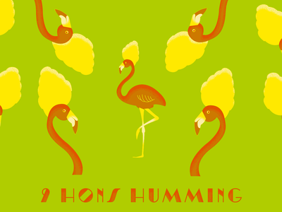 9th Day of Bmore - 9 Hons Humming christmas bmore baltimore hon flamingo holiday illustration 12 days of christmas 12days