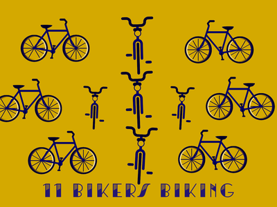 11 Days of Bmore - 11 Bikers Biking christmas holiday illustration baltimore bmore 12daysofchristmas 12days