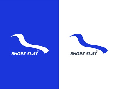 Shoes Slay Logo design blue mark design flat typography minimal logo design graphic design brand identity branding fitness sneaker workout gym footwear shoes logo