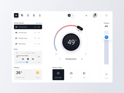 Touch Panel for Smart Shower minimal ux app design ui
