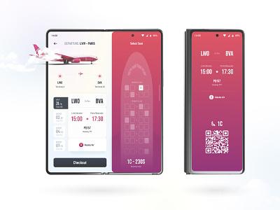 Flight Booking App galaxy fold concept qr code foldable ux design ticket booking ticket app