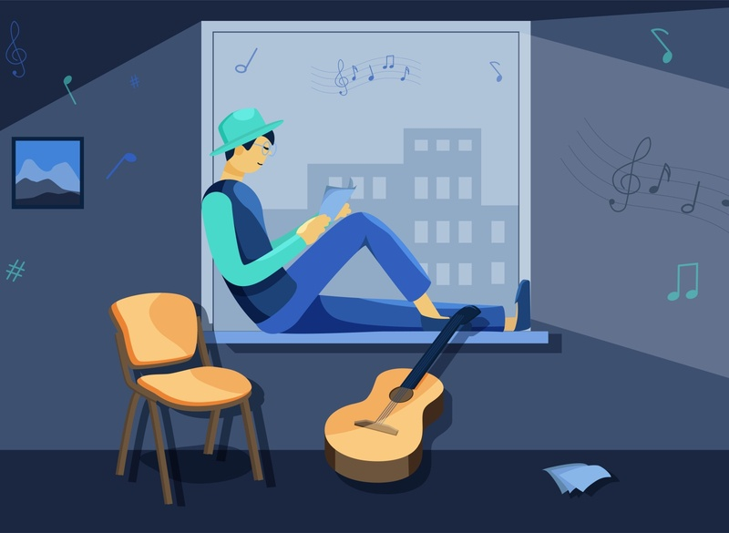 Guitarist at the window character flat vector illustration