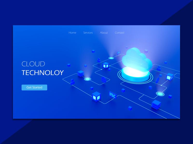 Cloud Technology cloud computing cloud homepage webdesign iran tehran ux ui concept art direction modeling c4d illustration 3d