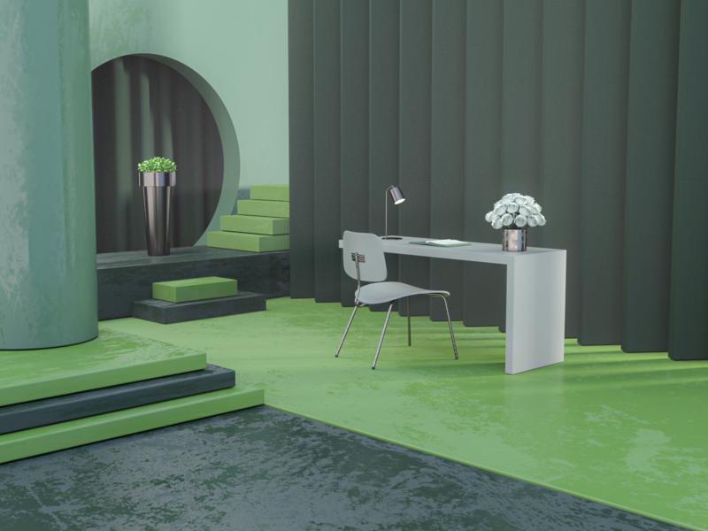Reading Room nature green iran tehran uiux webdesign architecture room redshift branding design modeling art direction illustration c4d 3d