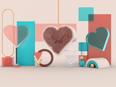 Heart texture material webdesign redshift heart ux ui branding dribbble concept art direction modeling illustration c4d 3d