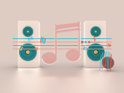 Music hair bass sound template app music texture iran tehran uiux webdesign dribbble branding design concept art direction modeling illustration 3d c4d