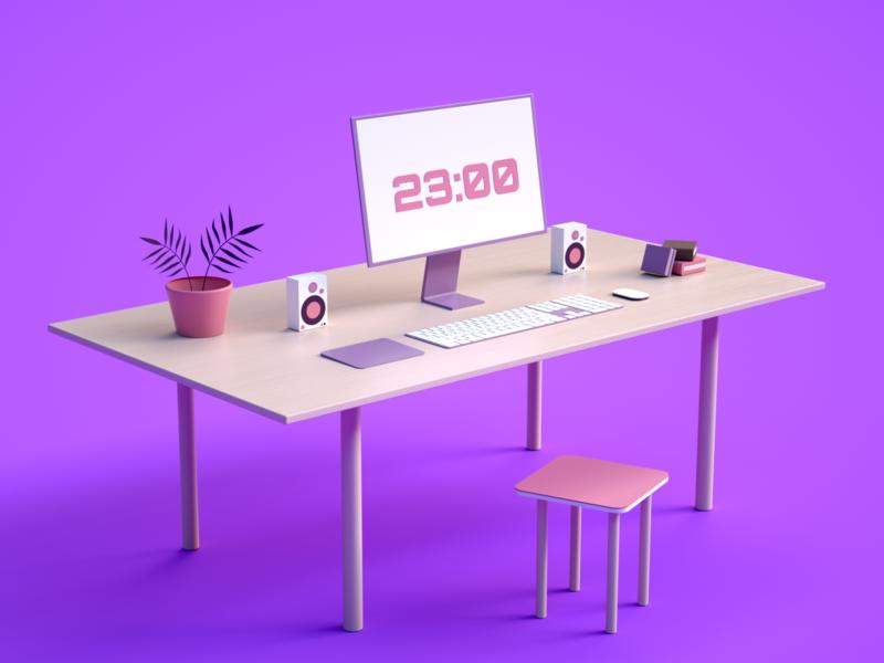 Simple Setup pink minimal setup iran tehran cinema4d ui branding concept art direction modeling octane c4d illustration 3d