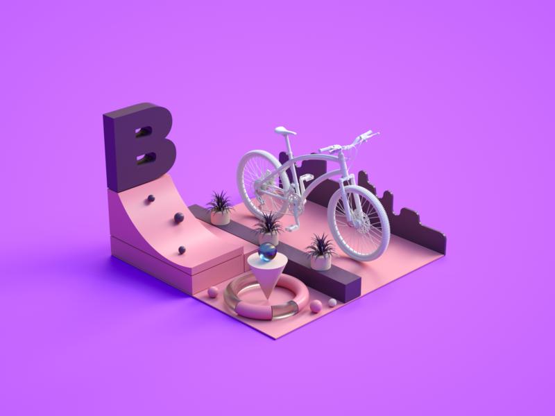 Bicycle texture iran tehran ui branding motion design art direction concept octane c4d modeling dribbble illustration 3d