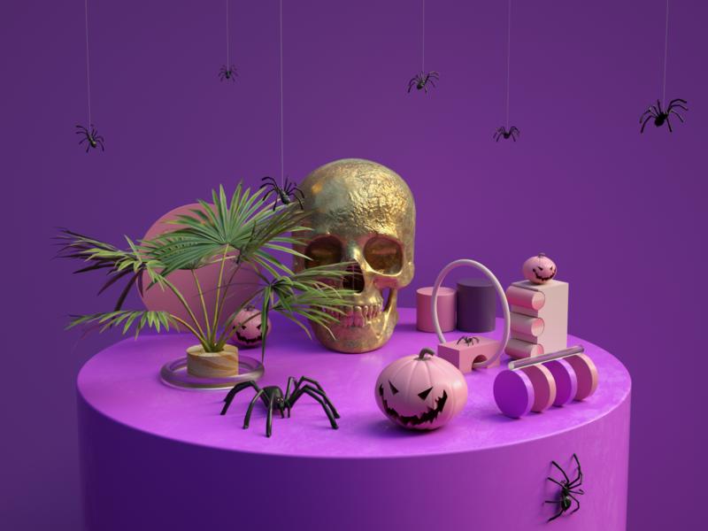 Happy Halloween spider halloween skull ui tehran iran cinema4d concept art direction modeling octane illustration c4d design 3d
