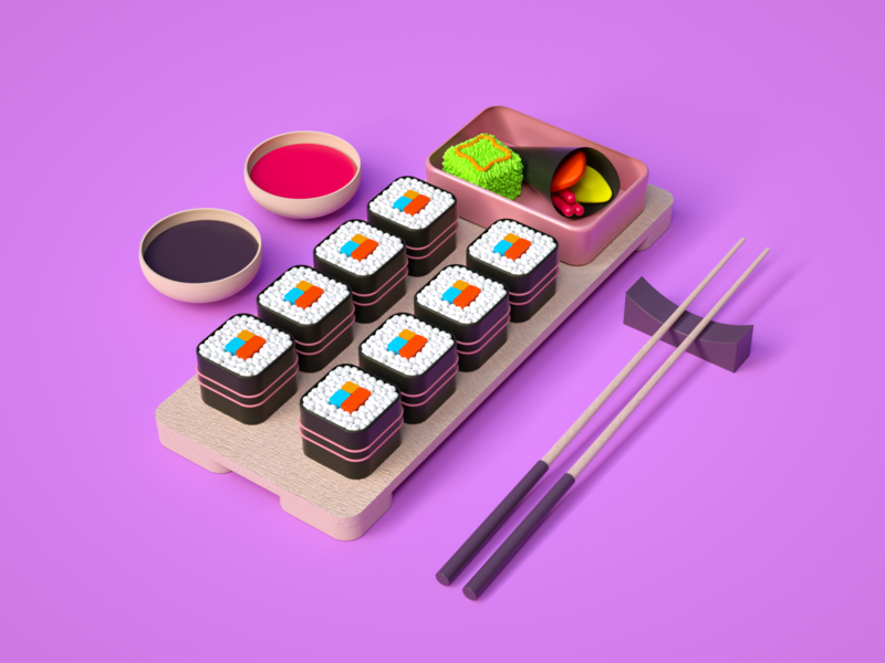 Sushi Time ux ui iran tehran dribbble art direction branding concept octane design modeling c4d illustration 3d