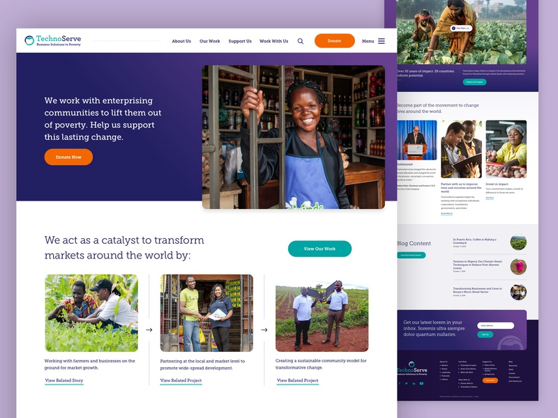 TechnoServe footer blog video poverty website ui web design home landing non-profit nonprofit