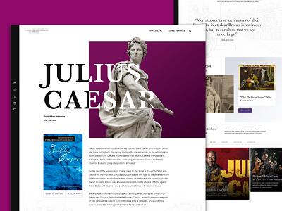 Julius Caesar web ui roman resources book play theatre theater literature shakespeare julius caesar landing websites web design