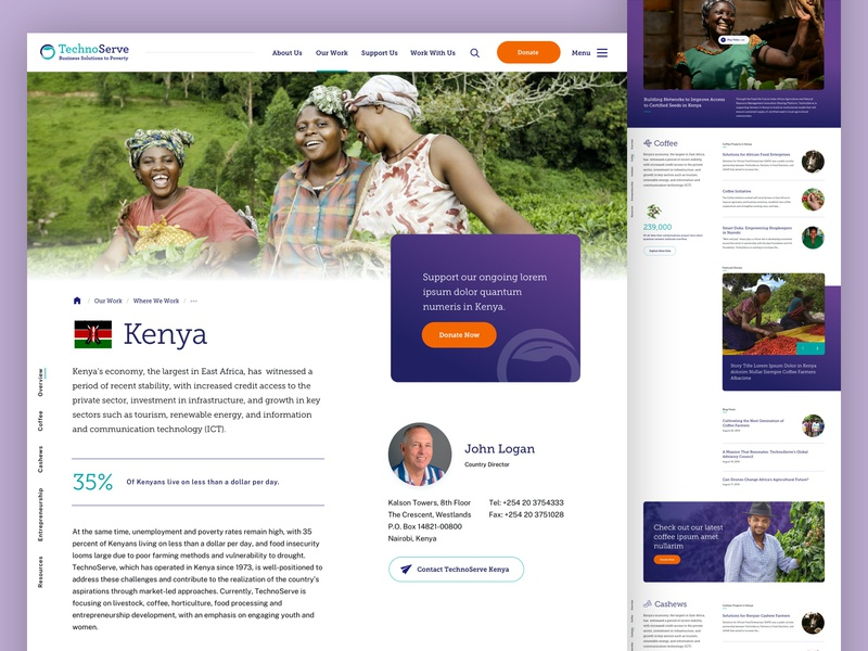 TechnoServe — Kenya business card entrepreneurship interior poverty non-profit navigation portfolio kenya country landing website web design ui