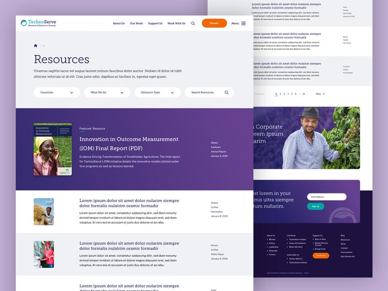 TechnoServe — Resources website landingpage non-profit nonprofit pdf library resources landing ux ui