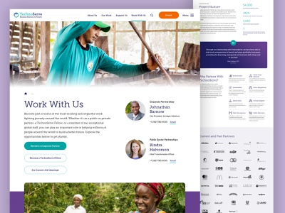 TechnoServe — Work With Us about poverty business nonprofit non-profit video stats testimonial logo grid logos ui design landing web design website web ui