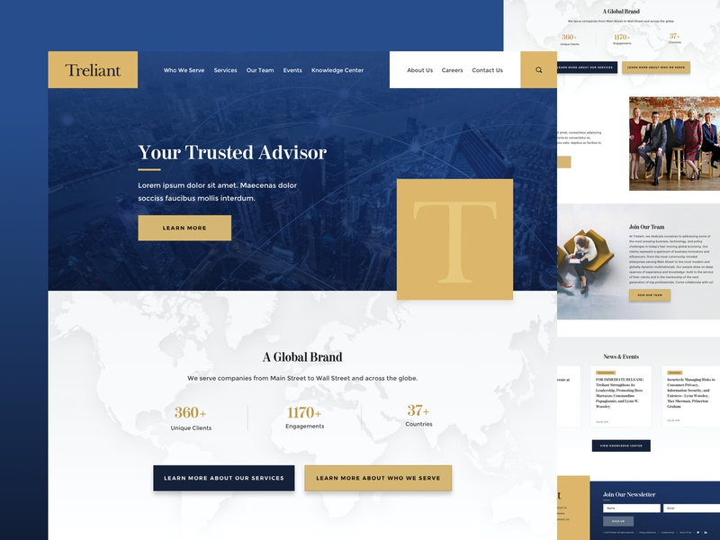 Treliant footer news stats web home homepage ux uiux ui website firm consulting landing page landing