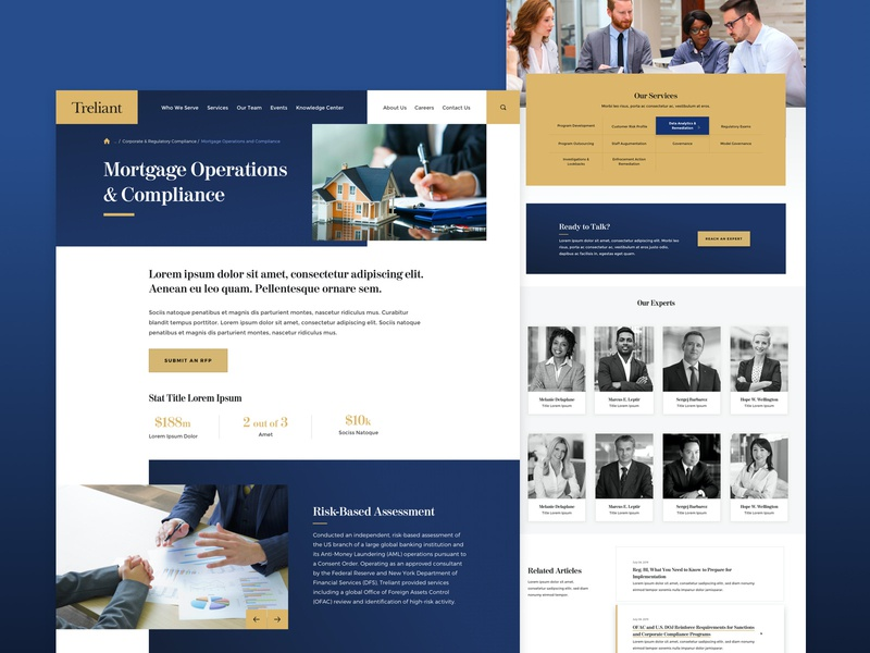 Treliant - Mortgage Operations & Compliance cta slider website web ux ui resources news articles staff experts stats house homepage home mortgage interior landing page landing