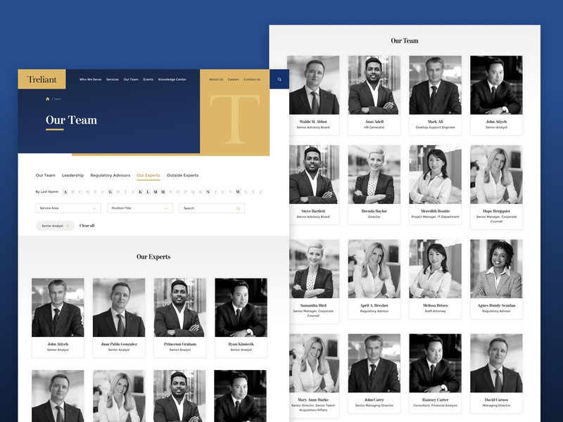 Treliant - Our Team filter dropdown search advisors leadership experts team firm consulting website sort alphabetical web landing web design ux ui