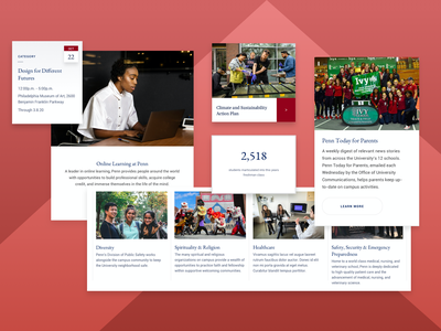 UPenn Components school university academics cta button column fact cta calendar event responsive design website web landing web design ux ui