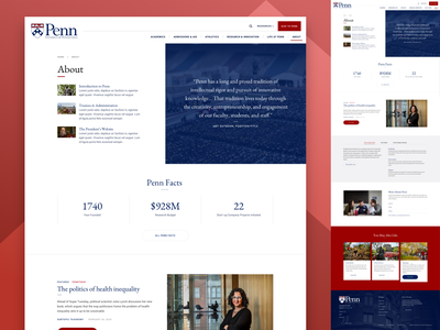About Upenn breadcrumb footer cards tab cta stats facts university school quote design website web landing web design ux ui