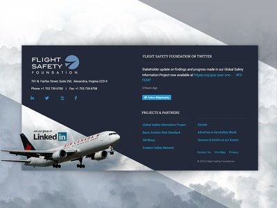 FSF Footer non-profit ui ux airplane foundation travel fly footer web design