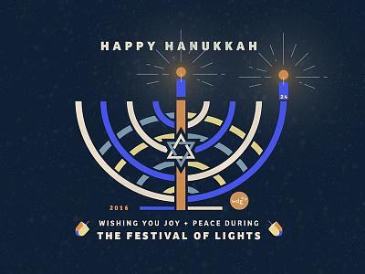 Happy Hanukkah dreidel star of david menorah illustration festivaloflights hanukkah