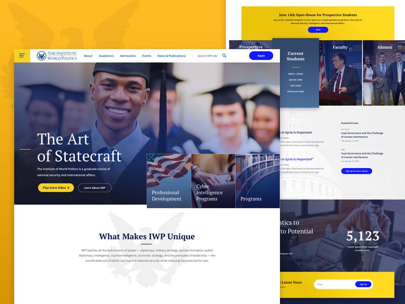 IWP Homepage university school politics statecraft education news home page home landing web design ui ux