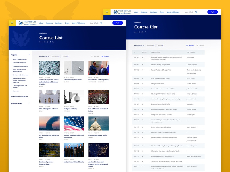 IWP Course Listing Pages by Kristina Lakeway for WDG on Dribbble