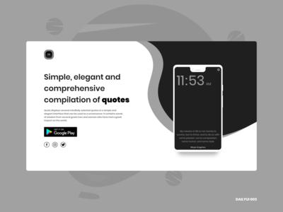 Quotz: App Landing Page - DailyUI 003