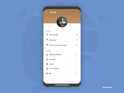 Profile Settings - DailyUI 007