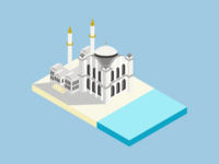 Isometric Architectural Mosque Illustration