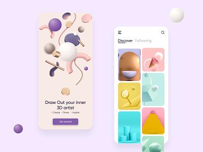 Discover 3D art app UI splash screen typogaphy color palette colorful 3d object pinterest app ui design ux minimal discover 3d artist 3d art 3d ui illustration design dailyui