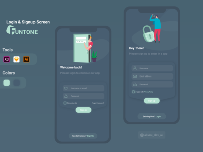 Funtone Login & Signup screens